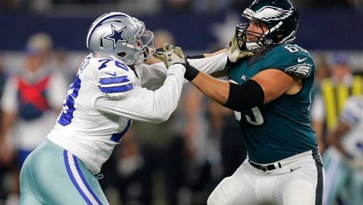 Lane Johnson, shown blocking Dallas' Greg Hardy, played left tackle for the first time in his NFL career on Sunday night.