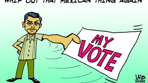 """This drawing provided by Mexican-American syndicated cartoonist Lalo Alcaraz on Wednesday, Oct. 5, 2016 depicts a Latino voter holding a ballot in reaction to Republican vice presidential candidate Mike Pence referring to """"that Mexican thing,"""" at the vice presidential debate as he tried to brush aside criticism of Donald Trump's comments about Mexican immigrants. A day after the debate, """"#ThatMexicanThing"""" was trending on Twitter as Latinos made fun of the remark with memes, gifs, and satirical versions of Trump's """"Make America Great Again"""" red cap. (Courtesy of Lalo Alcaraz/Universal Uclick Syndicate via AP)"""
