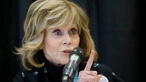 Actress Jane Fonda speaks at a press conference for indigenous rights, in Edmonton Alta, on Wednesday, Jan. 11, 2017.