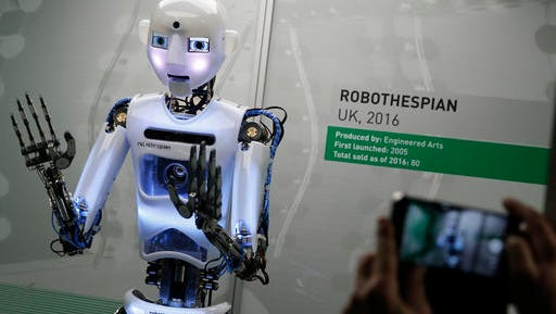 RpboThespian is a British-built, life size robot introduced at a robots exhibition at the Science Museum in London Feb. 7, 2017. The exhibition shows 500 years of mechanical and robotic advances and is open to the public through Sept. 3. According to a  new report by Price Waterhouse Cooper, almost 40 percent of jobs in the U.S. are at high risk of being replaced by robots.