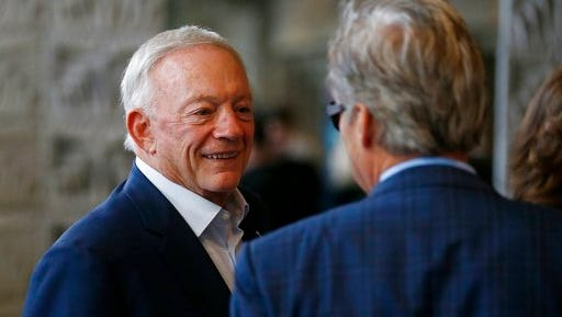 Dallas Cowboys owner Jerry Jones arrives at the NFL football annual meetings, Monday, March 27, 2017, in Phoenix.