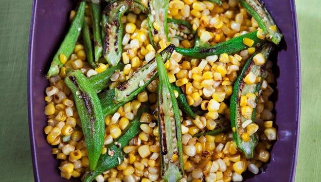 Pan-roasted corn and okra