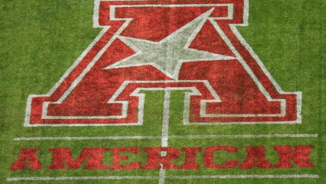 The American Athletic Conference logo on the field before a game this season.