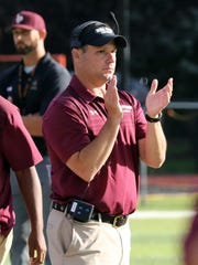 Iona Prep head coach Joe Spagnolo during their game against Bishop Hendricken in New Rochelle, Sept. 9, 2017.