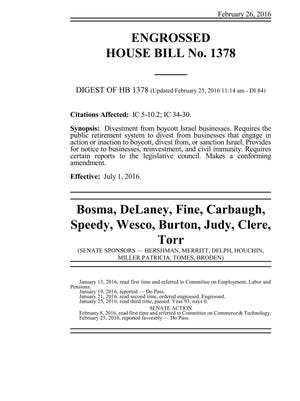 Cover page of House Bill 1378 in the 2016 Indiana General Assembly.