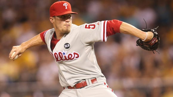 Phillies relief pitcher Ken Giles pitches against the Pittsburgh Pirates during the eighth inning Friday at PNC Park. Credit: Charles LeClaire-USA TODAY Sports