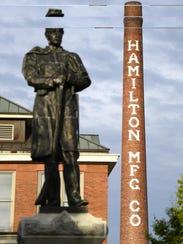 The Hamilton Manufacturing Co.'s 233-foot smokestack