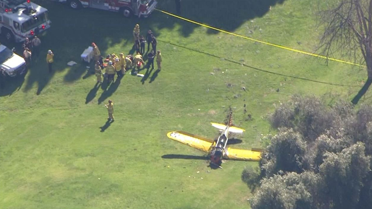 A single-engine plane flown by actor Harrison Ford