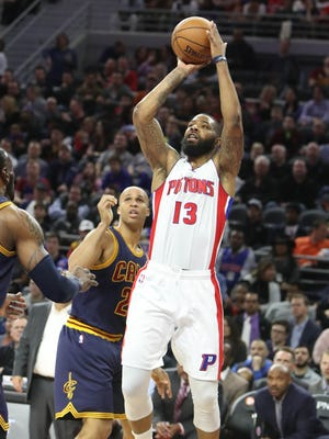 Pistons forward Marcus Morris scores against Cavaliers forward Richard Jefferson during the Pistons' 106-101 win Thursday, March 9, 2017 at the Palace.