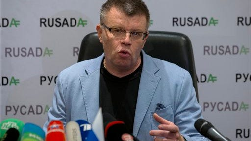 Nikita Kamaev, Managing Director of Russian Anti-Doping Agency RUSADA talks to press at the agency headquarters in Moscow on Tuesday, Nov. 10, 2015. The World Anti-Doping Agency has suspended the accreditation of Moscow's drug-testing laboratory in the wake of a damning report on Russian doping Monday.