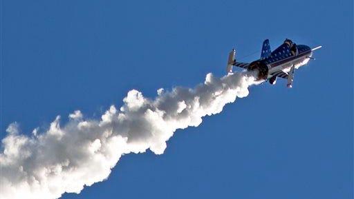 "Stuntman Eddie Braun flies the ""Evel Spirit""  rocket on Friday, Sept. 16, 2016, over the Snake River Canyon at Twin Falls, Idaho. (Pat Sutphin/The Times-News via AP)"