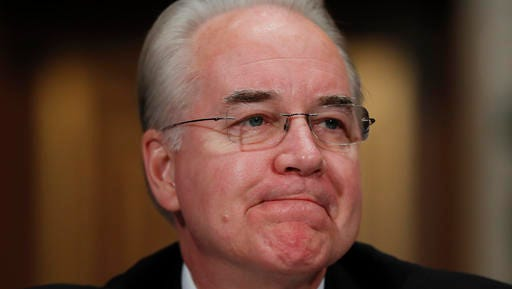 Health and Human Services Secretary-designate, Rep. Tom Price, R-Ga., pauses while testifying on Capitol Hill in Washington, Wednesday, Jan. 18, 2017, at his confirmation hearing before the Senate Health, Education, Labor and Pensions Committee.