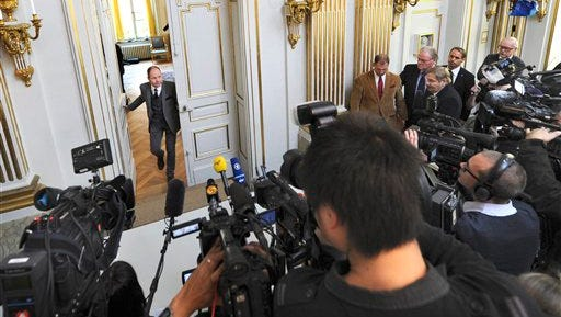 In this file photo, Peter Englund, permanent secretary of the Royal Swedish Academy, arrives to announce the winner of the Nobel Prize in literature, in Stockholm.  Thursday Oct. 9, 2014 is the festive day of the year for highbrow culture when the winner of the Nobel Prize in literature is revealed. The secretive academy drops no hints on who they consider, but Permanent Secretary Peter Englund has said this year?s long-list started with 210 nominees, including 36 first-timers.