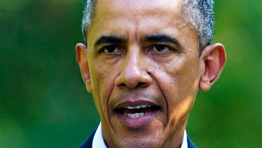 President Barack Obama speaks about developments in Iraq Monday from his vacation residence in Chilmark, Mass. Obama is giving his approval to the appointment of a prime minister to replace Nouri al-Maliki and urging the formation of a new government in Iraq as soon as possible.