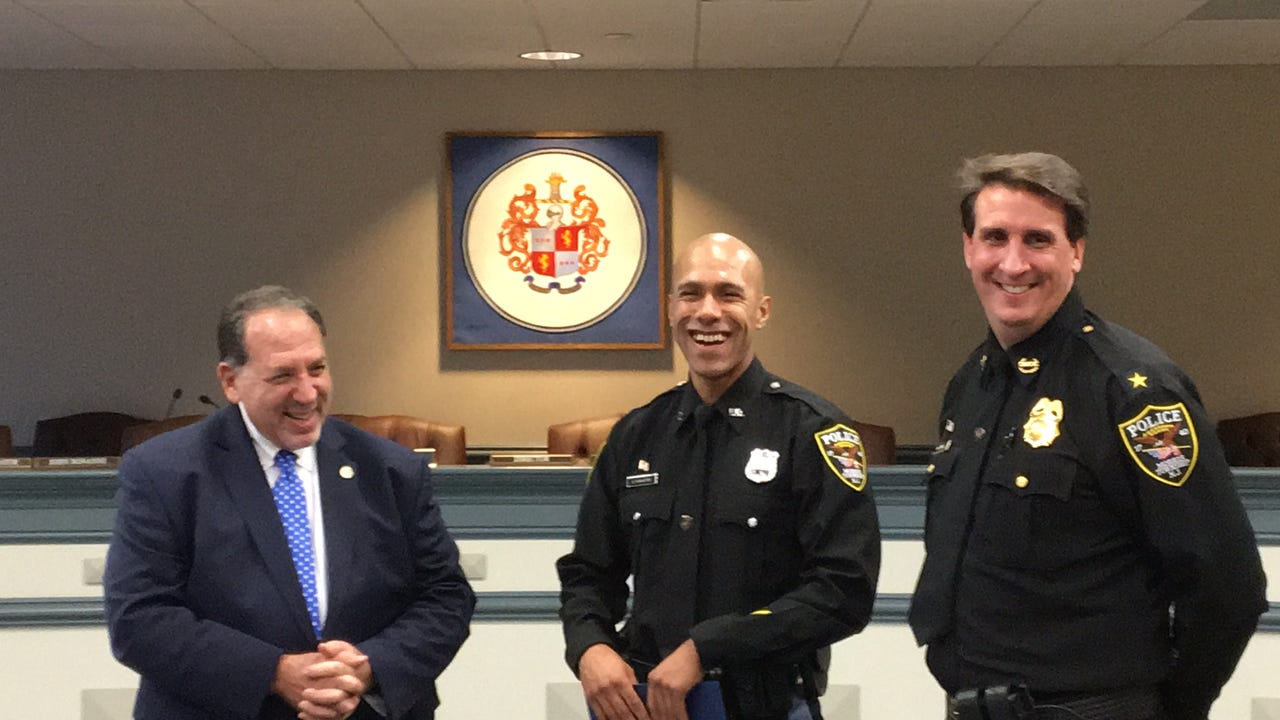 Four Morris County police officers commended by Prosecutor Fredric M. Knapp for participation in the Hurricane Maria relief effort in Puerto Rico called Operation NJ Pride.