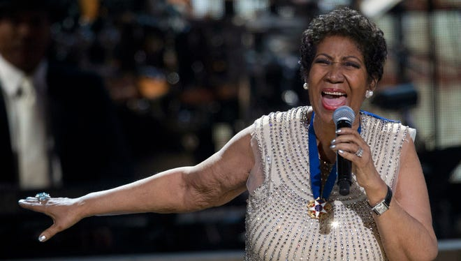 Aretha Franklin performs onstage at the BET Honors in Washington on Feb. 8, 2014.