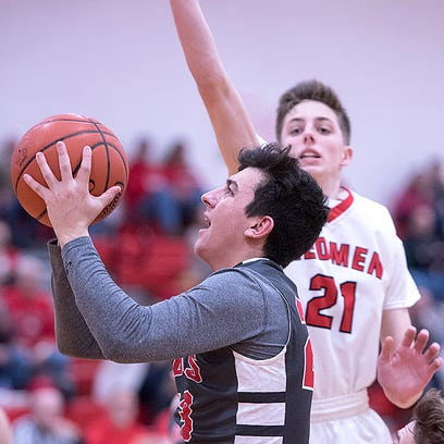 Buckeye Central's Dalton Sheaffer goes to the hoop.