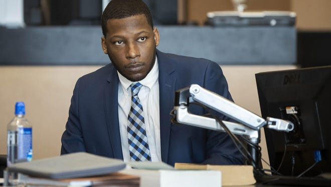 Euri Jenkins, who is charged with first-degree murder in connection to the June 29, 2017, fatal shooting of his wife, Makeva Jenkins attends jury selection for his trial at the Palm Beach County Courthouse in West Palm Beach, Jan. 22, 2020.