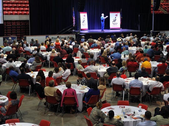 In this 2017 file photo, the annual Wichita Falls Leadership Breakfast featured motivational speaker Dan Clark who talked about demanding more of yourself than is required and going above and beyond with customer service. This year's event, to be held June 29,  benefits Wichita Christian School.