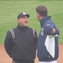 Image from video of argument between Somerset Patriots manager Brett Jodie and umpire Nate Caldwell during Wednesday morning's game at   TD Bank Ballpark. Jodie was ejected from the game over the dispute about a potential double-play ball.