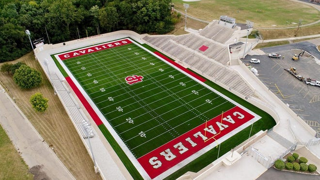 Howard Fellows Stadium and its new artificial turf at LaSalle-Peru High School.