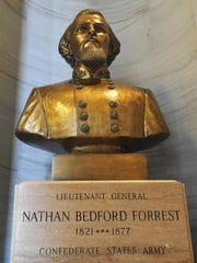 A bust of Nathan Bedford Forrest remains a fixture