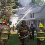 A fire severely damaged a house Wednesday at 33 Cayuga St. in Trumansburg