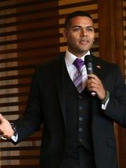 La Quinta City Council candidate Steve Sanchez speaks during the La Quinta Chamber of Commerce candidate forum at PGA West, September 21, 2016.