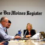 Photos: Kim Weaver speakes to the Register editorial board