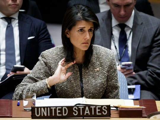 U.N. Ambassador Nikki Haley, a Republican former governor of South Carolina, said the president's accusers deserve to be heard.