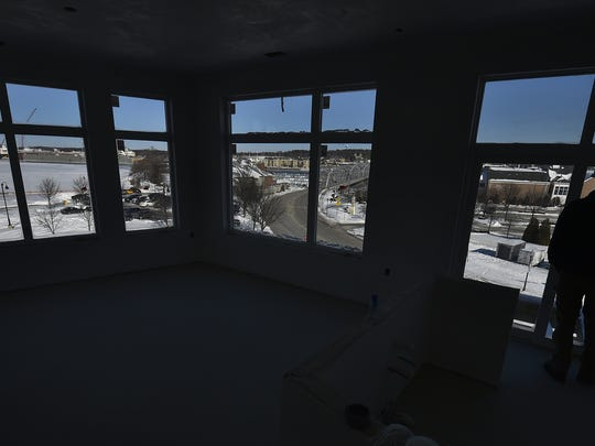 A view from the fourth floor corner apartment includes Fincantieri Shipbuilding on the left, Michigan Street Bridge in the middle and the Door County Maritime Museum on the right. The Bay Lofts, 49 N. Madison Ave., Sturgeon Bay, plan to open in May.
