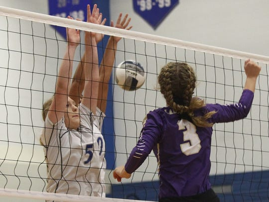Lake View's Bryce Crabtree goes up for a block against