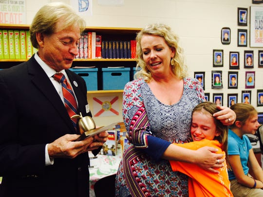 Joelle Beverly,  a 4th grade teacher at Bayshore Elementary is a Golden Apple winner.
