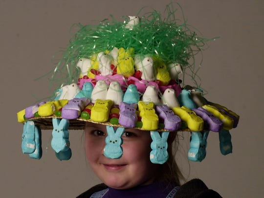 Model Kaylie Norris sports the author's Easter bonnet, which took about two hours to create.