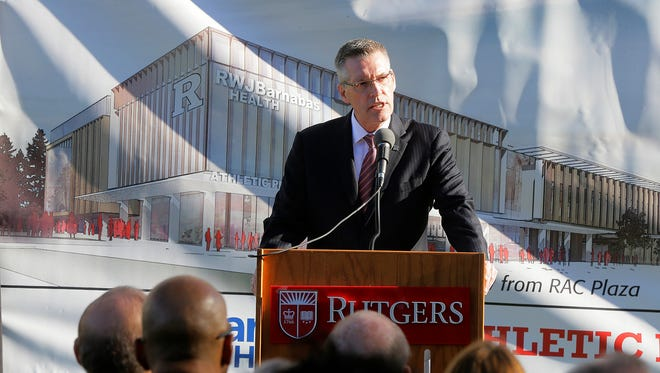 Patrick E. Hobbs, athletic director at Rutgers University, hosts the groundbreaking of the RWJBarnabas Health Athletic Performance Center at Rutgers University in Piscataway, NJ Tuesday, November 1, 2016.