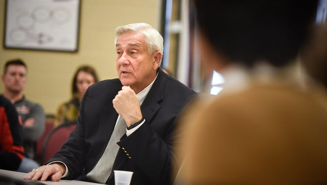 John Thein answers questions from Rocori School Board members during a meeting Tuesday, April 3, at the district offices in Cold Spring. The board voted to move forward with negotiations to make Thein the acting superintendent for the district.
