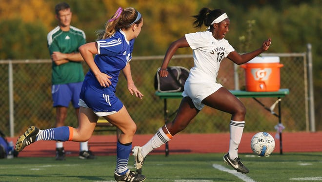Clarkstown South and Pearl River played to a 0-0 tie in girl's soccer action at Clarkstown South High School in West Nyack  Oct. 18, 2016.
