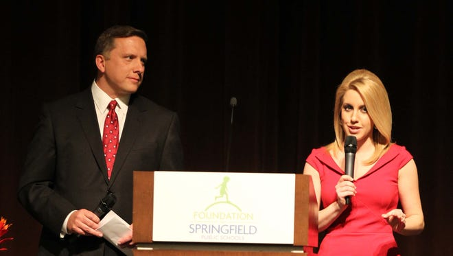 Former KOLR TV anchor David Oliver (left) is shown alongside former KOLR news personality Shannon Miller as the two anchors hosted the Springfield Teacher of the Year banquet in April 2014. On Feb. 5, 2021, Oliver announced he had departed from KOLR.