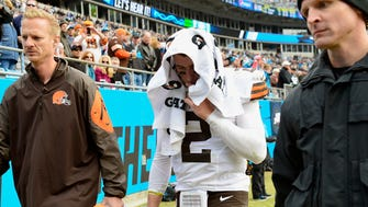 Browns QB Johnny Manziel left his second NFL start with an injured hamstring.