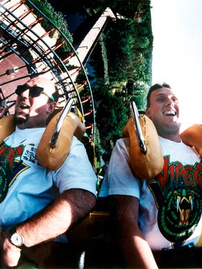 1995 Bill Buckley of Boston and Steven Urbanowicz of Jersey City ride the Viper roller coaster at Great Adenture.