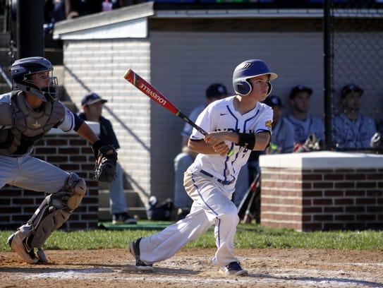 Waynesboro's Cody Cline hits a two-run single in the