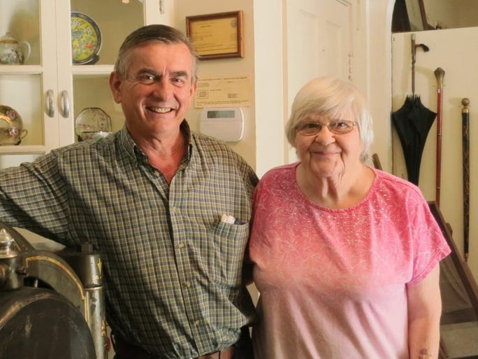 Jacque Jabs/Special to the Record Searchlight John Snider of Cottonwood and Florence Erickson of Anderson attend the Anderson Valley Historical Society event on Sept. 14 in Anderson.