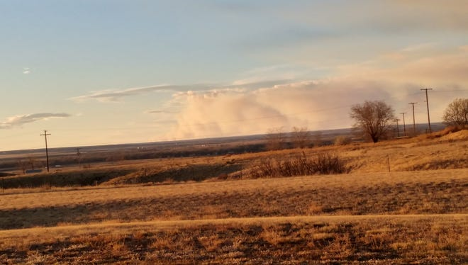 A pyrocumulus cloud, as seen from the NWS Glasgow office 70 miles away, has formed as a result of the fire burning north of Malta.