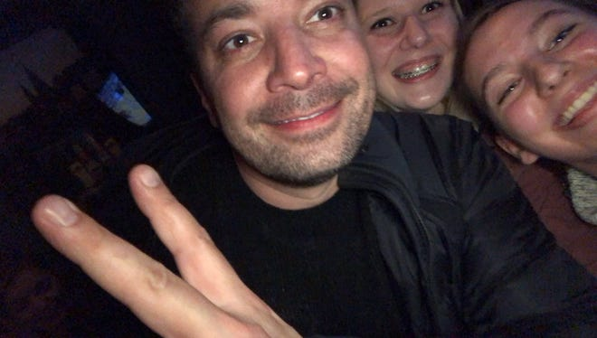 Jimmy Fallon poses for a selfie with Colette D'Amico and Maddie Scheel on Saturday.