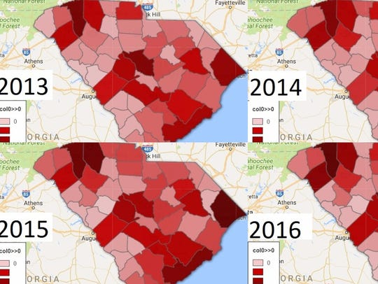 Traffic fatalities in South Carolina since 2013. Anderson