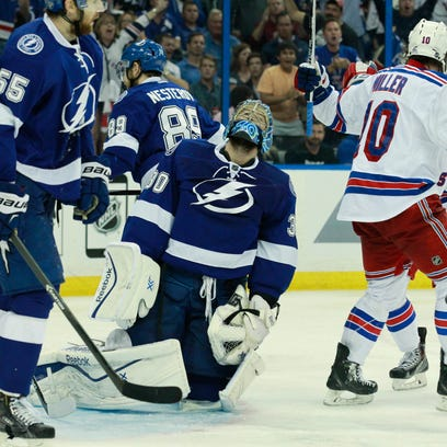 Tampa Bay Lightning goalie Ben Bishop (30) reacts to