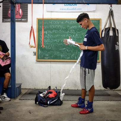 Santos Ortega, 16, trains at the Thermal Boxing Club