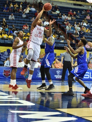 UL's Bryce Washington contributed another double-double with 11 points, 10 rebounds and three assists in 35 minutes during the Cajuns' loss to UTA in the Sun Belt Tournament semifinals at Lakefront Arena in New Orleans.