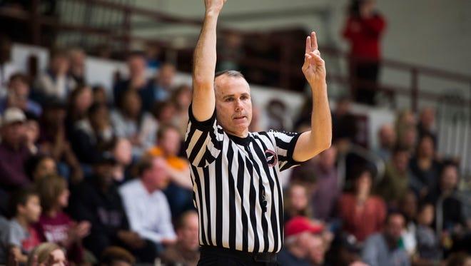 A referee makes a call during a high school girls basketball Region 2-AAA final between Oak Ridge and Bearden at Bearden Wednesday, Feb. 28, 2018. Bearden defeated Oak Ridge.