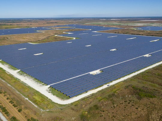 Aerial drone photo of the Citrus Solar Energy Center